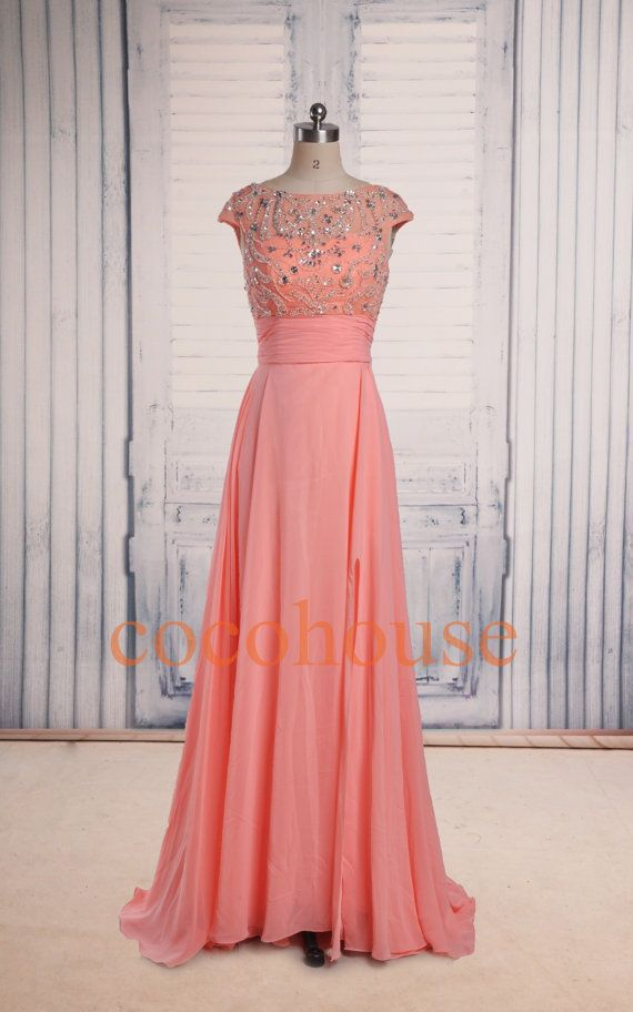 Coral Beaded Long Fashion Prom Dresses Bridesmaid by cocohouse ...