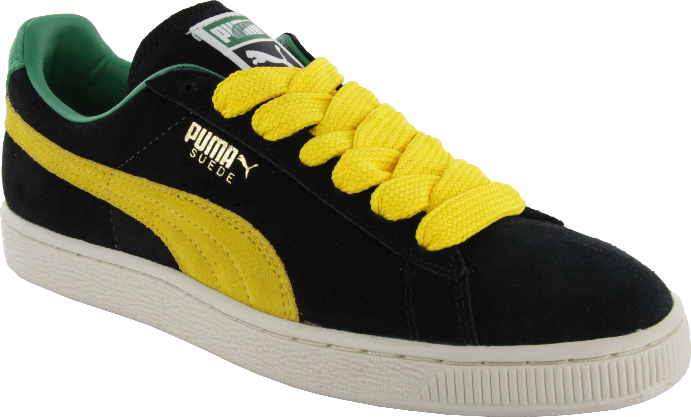 puma suede yellow green