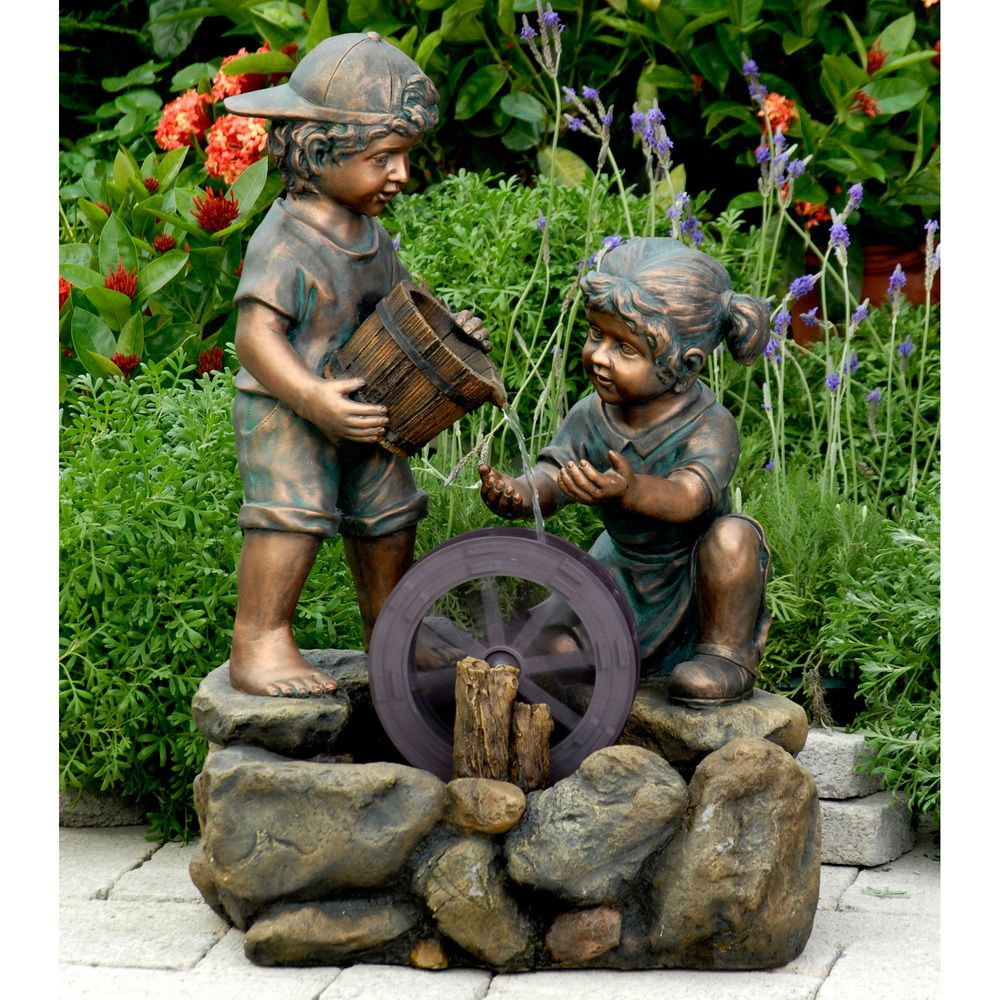 Water fountains calgary - Bronze Painted Children Outdoor Indoor Water Fountain Overstock Com Shopping The