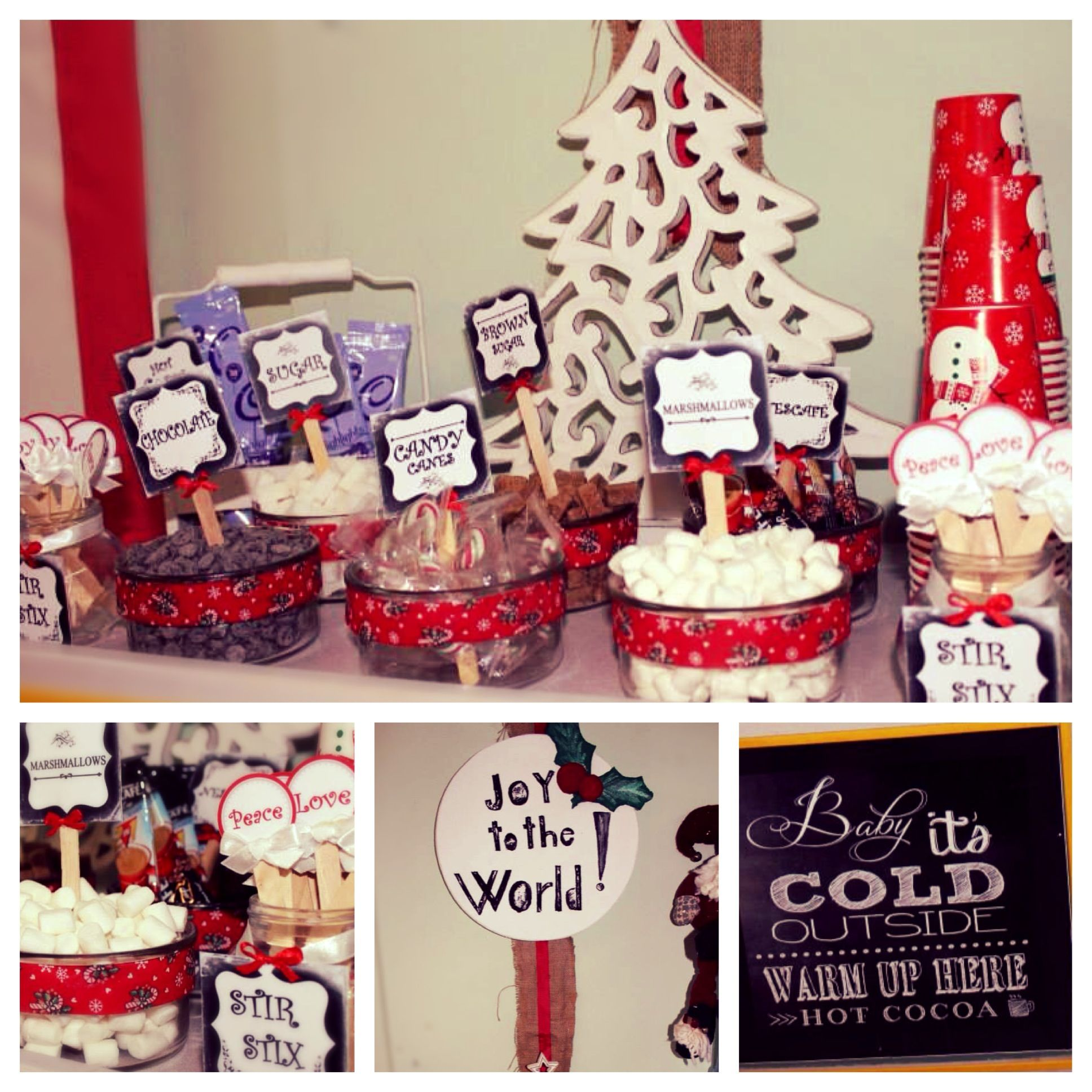 Baby it's Cold Outside. Hot cocoa bar. Christmas party. Joy to the world. Tags. Stir sticks. Styrofoam Sign.