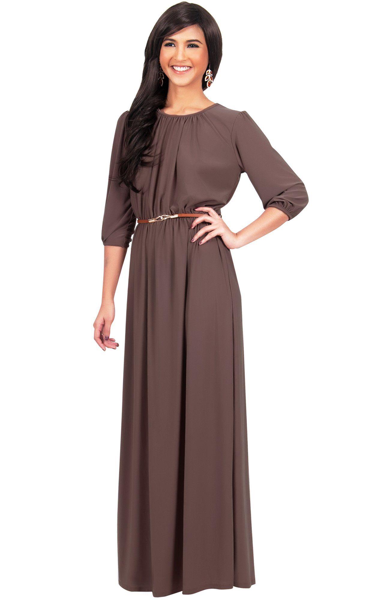 f71980f790d8 Maternity Fashion - best maternity maxi dress : KOH KOH Women Long 3/4  Sleeve