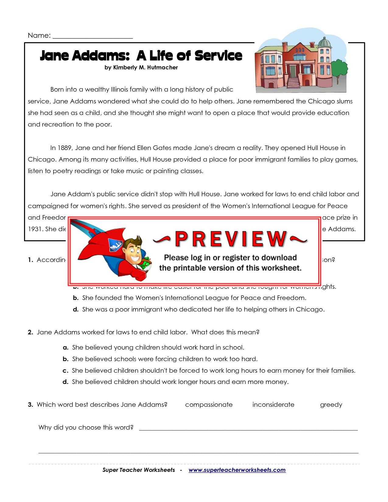 Jane Addams A Life of Service - Super Teacher Worksheets   Super teacher  worksheets [ 1650 x 1275 Pixel ]
