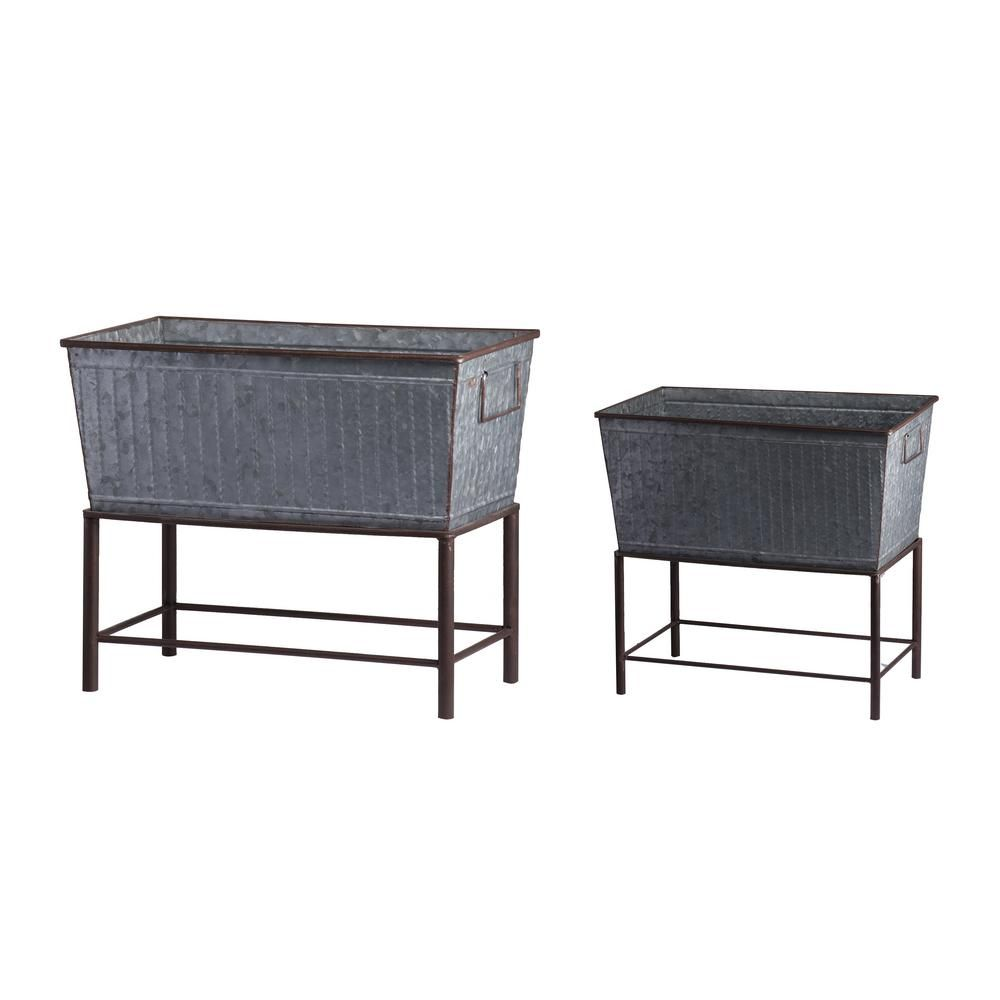 20 Brilliant Raised Garden Bed Ideas You Can Make In A: A & B Home Zale Zinc Planters With Stands (Set Of 2