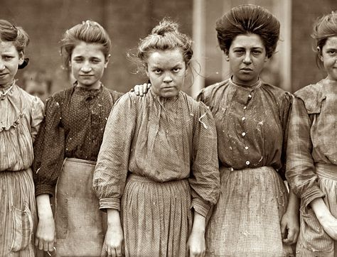 I just couldn't stop looking at this picture. These are hard working women from a cotton mill in the year 1909.