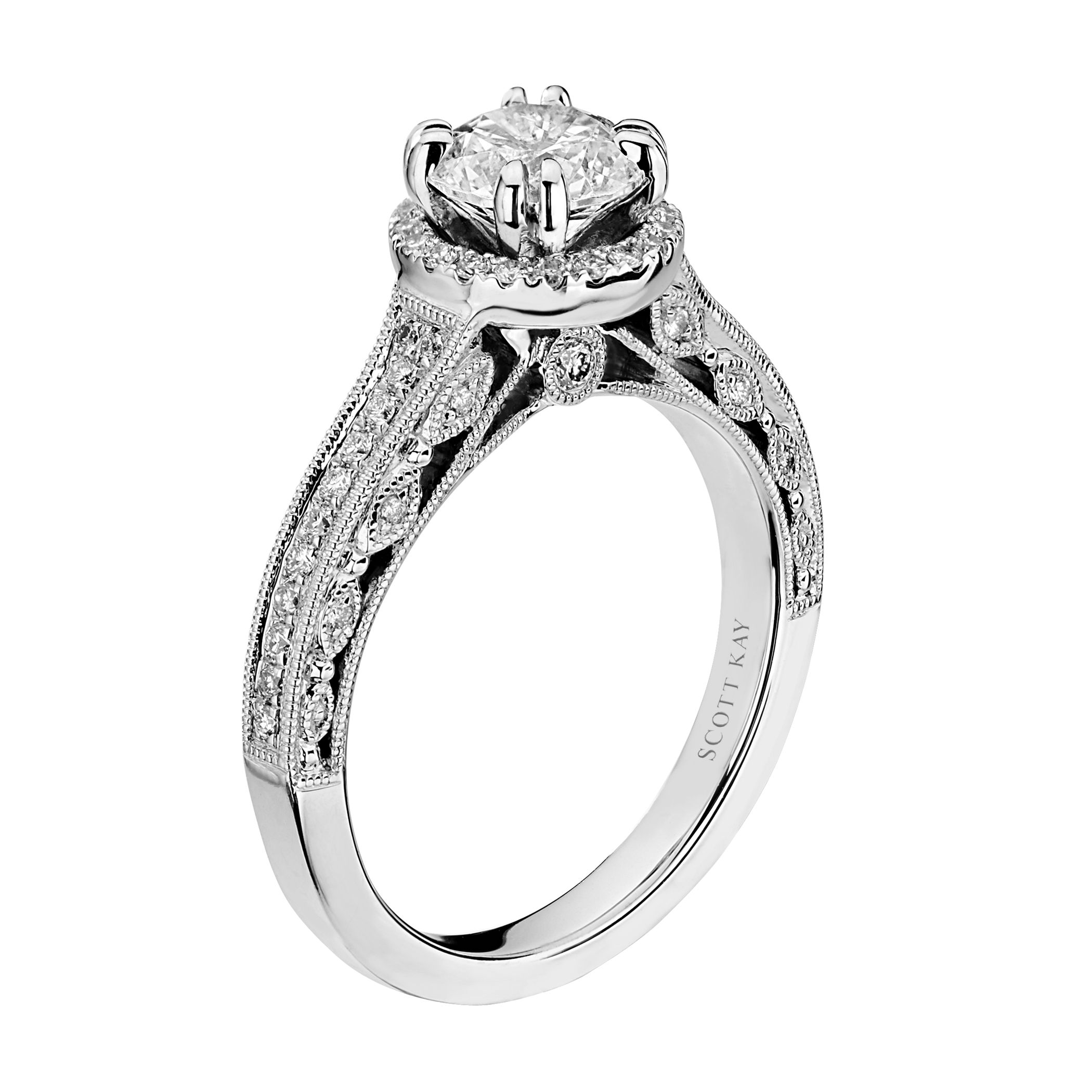This engagement ring features 50 diamonds set in white ...