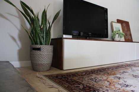 DIY-ikea-hack-media-cabinet | Besta cabinets wrapped in stain-grade pine