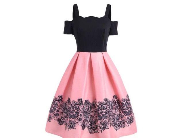 Photo of High Waisted Cold Shoulder A Line Dress