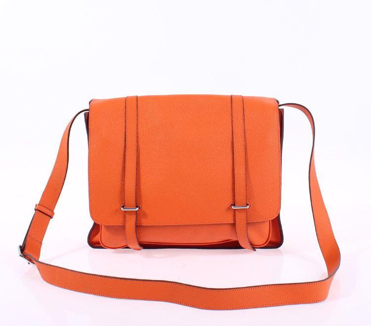 Hermes Steve Shoulder Bag Clemence Orange | Hermes Bags ...