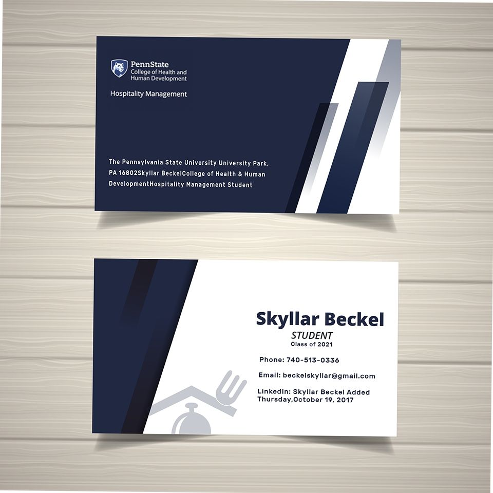 College Student Business Card Example Gallery Student Business Cards Examples Of Business Cards Business Card Template Design