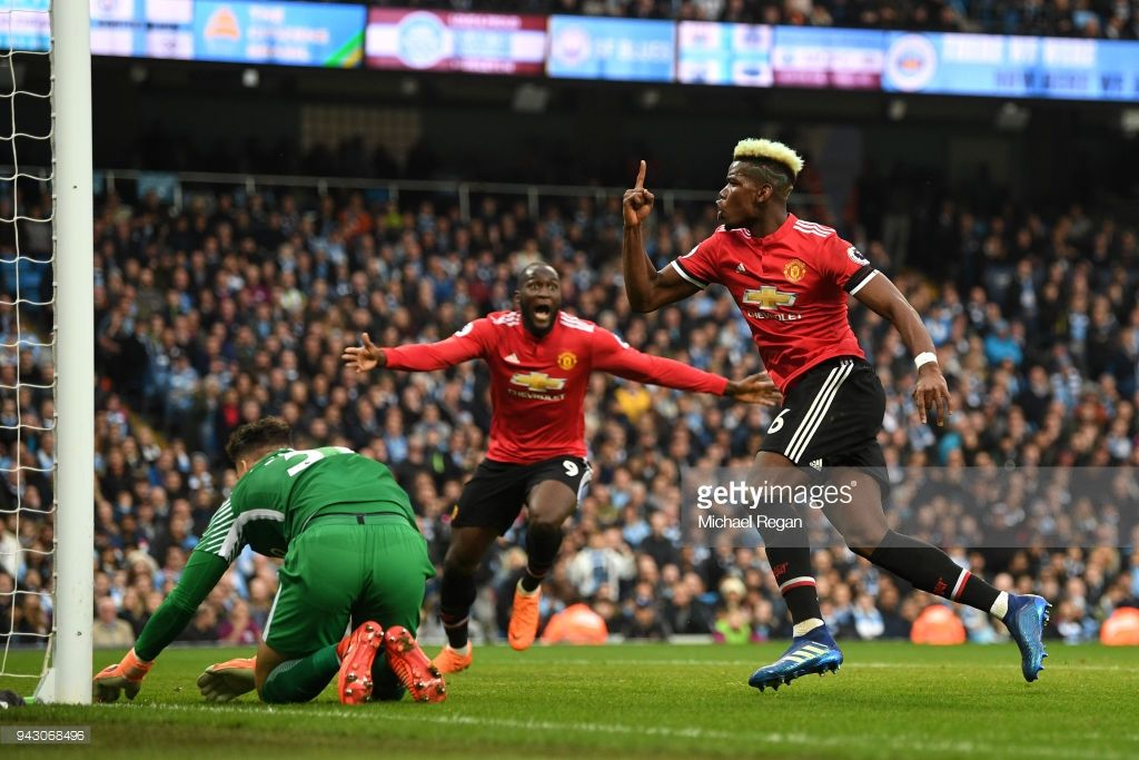 List of Awesome Manchester United Wallpapers Stadium Paul Pogba of Manchester United celebrates after scoring his sides second goal during the Premier League match between Manchester City and Manchester United at Etihad Stadium on April 7, 2018 in Manchester, England.