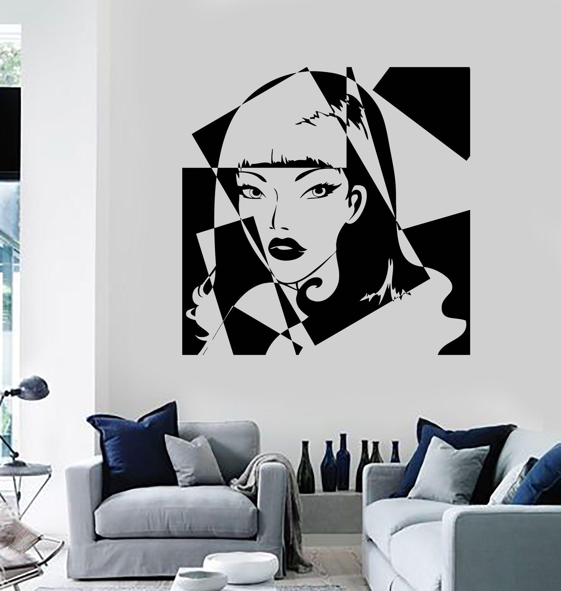 Vinyl Wall Decal Pop Art Girl Beauty Salon Woman Stickers Unique