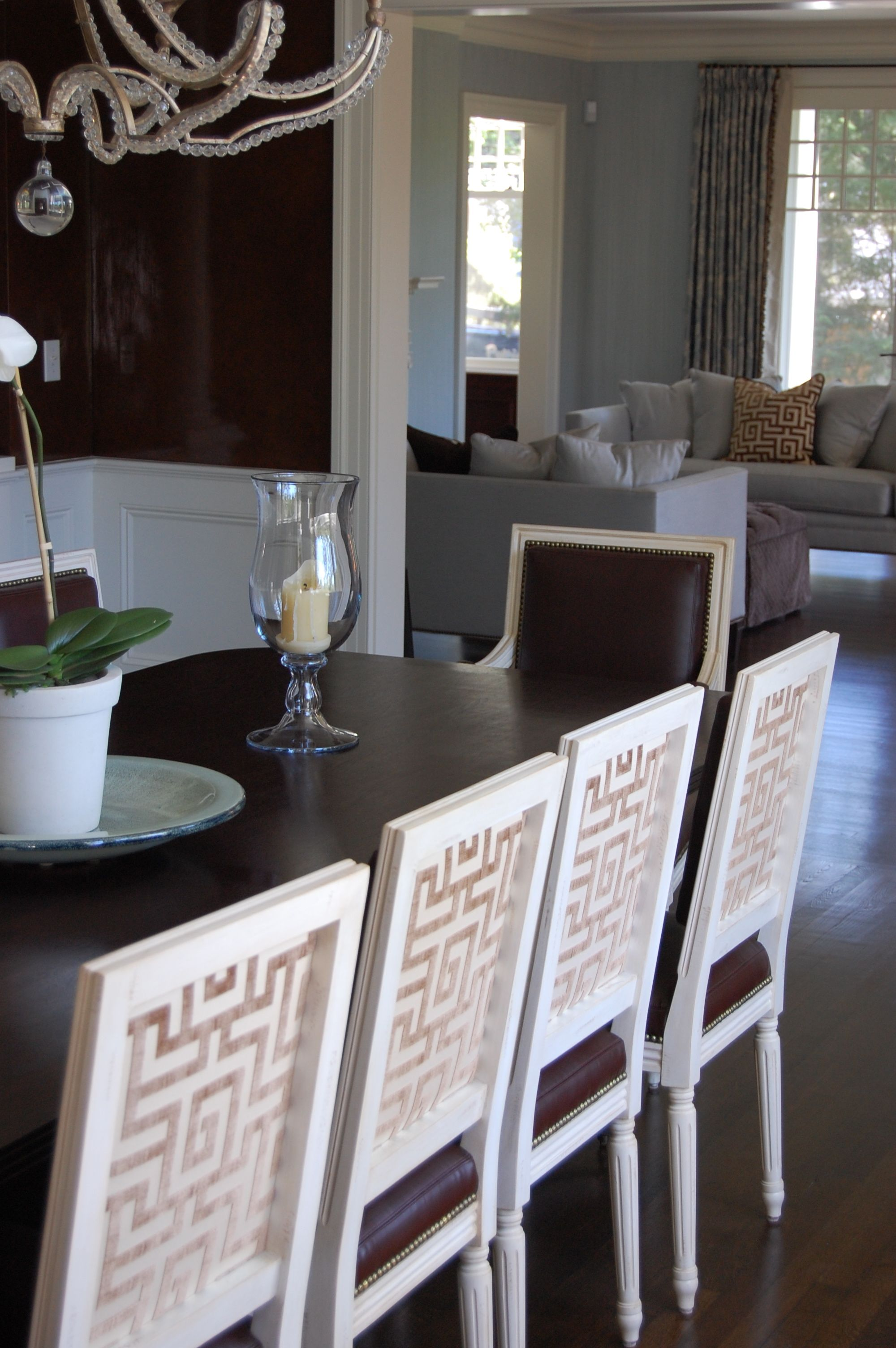Beautiful Greek Key Detail On The Dining Room Chairs