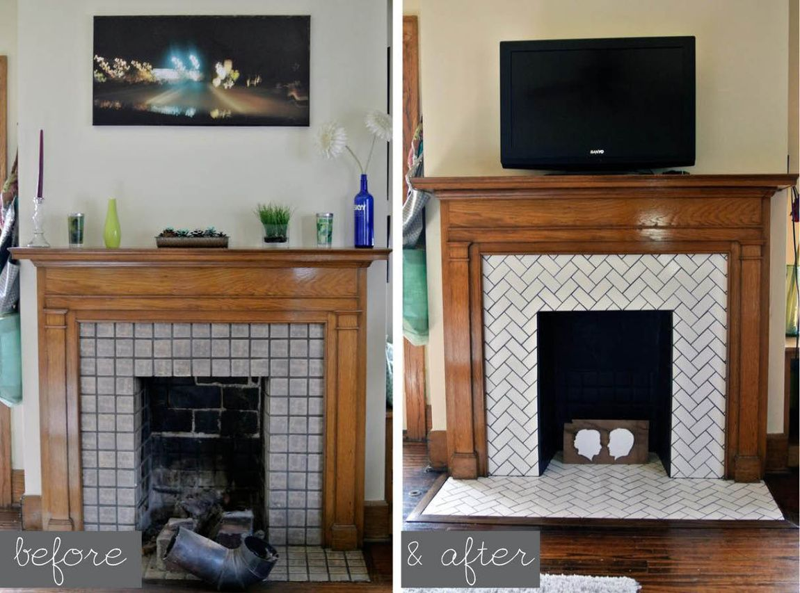 Decorative Tiles For Fireplace Herringbone Tile Fireplacedone With Subway Tiles On The Front Of
