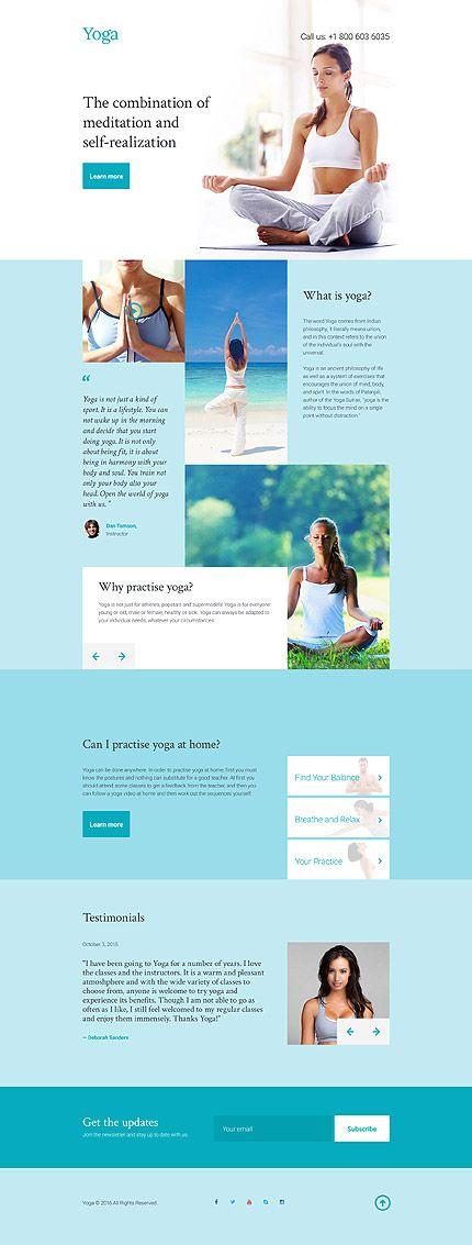 template 58228 yoga club responsive landing page template web