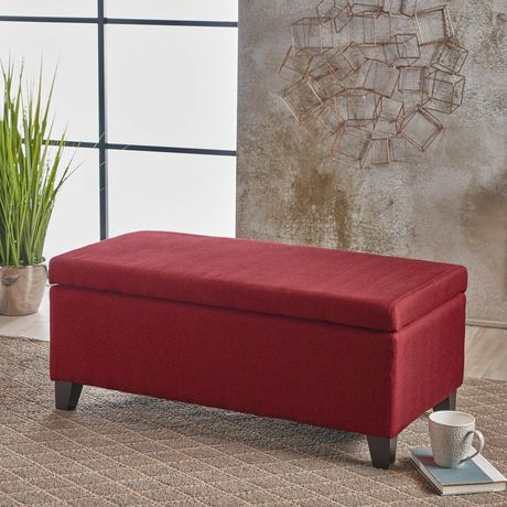 Amazing Noble House Brea Deep Red Fabric Storage Ottoman Deep Red Short Links Chair Design For Home Short Linksinfo