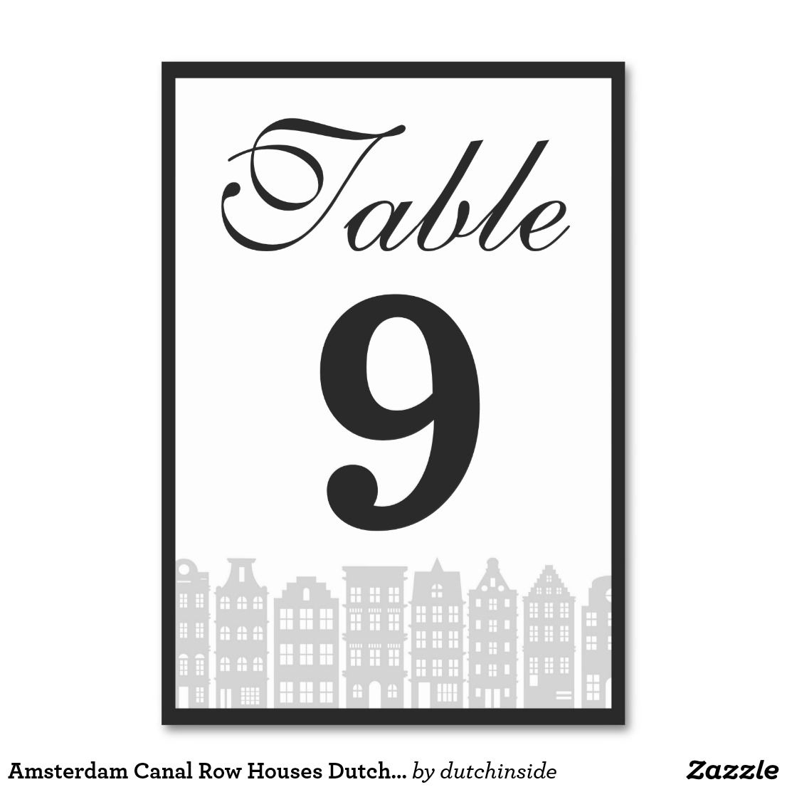 Amsterdam Canal Row Houses Dutch Wedding Reception Table Number Zazzle Com Wedding Reception Tables Row House Amsterdam Canals