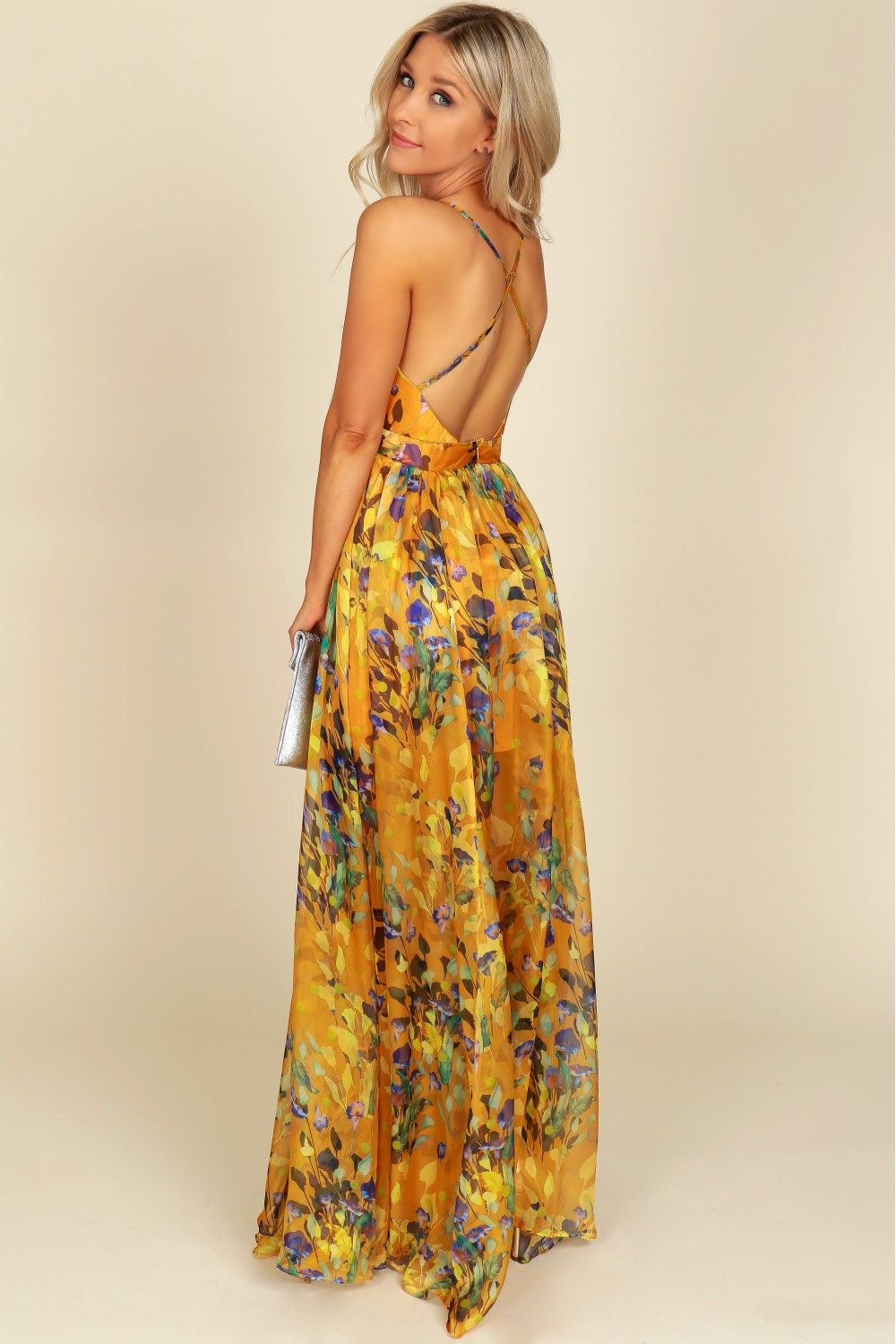 75368a5d0988 Vibrant Floral Maxi Dress Yellow in 2019 | fashion | Floral maxi ...