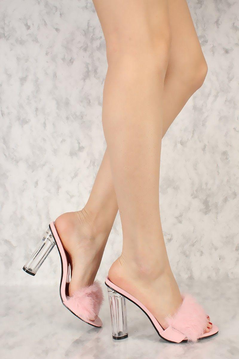 fbc8fe029db Sexy Pink Open Toe Single Sole Slip On Clear Chunky High Heels Faux ...