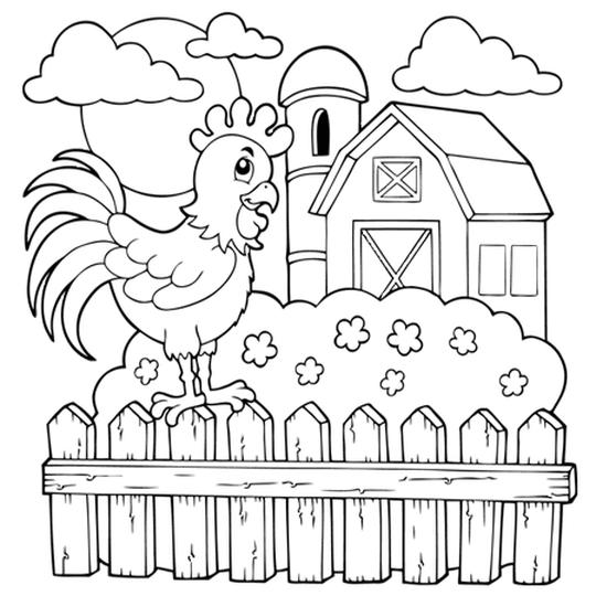 Coloriage La Grange Et Le Coq De La Ferme En Ligne Gratuit Agrave Imprimer Malvorlagen Vorlagen Kinder