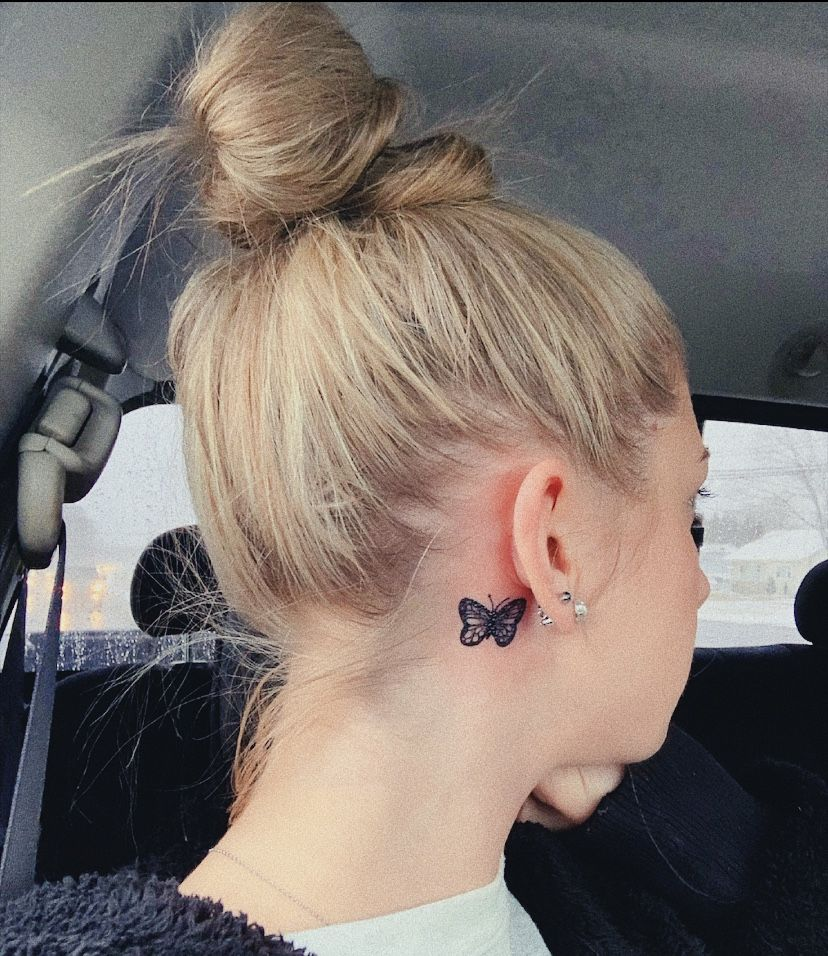 butterfly tattoo necktattoo in 2020 Tattoos