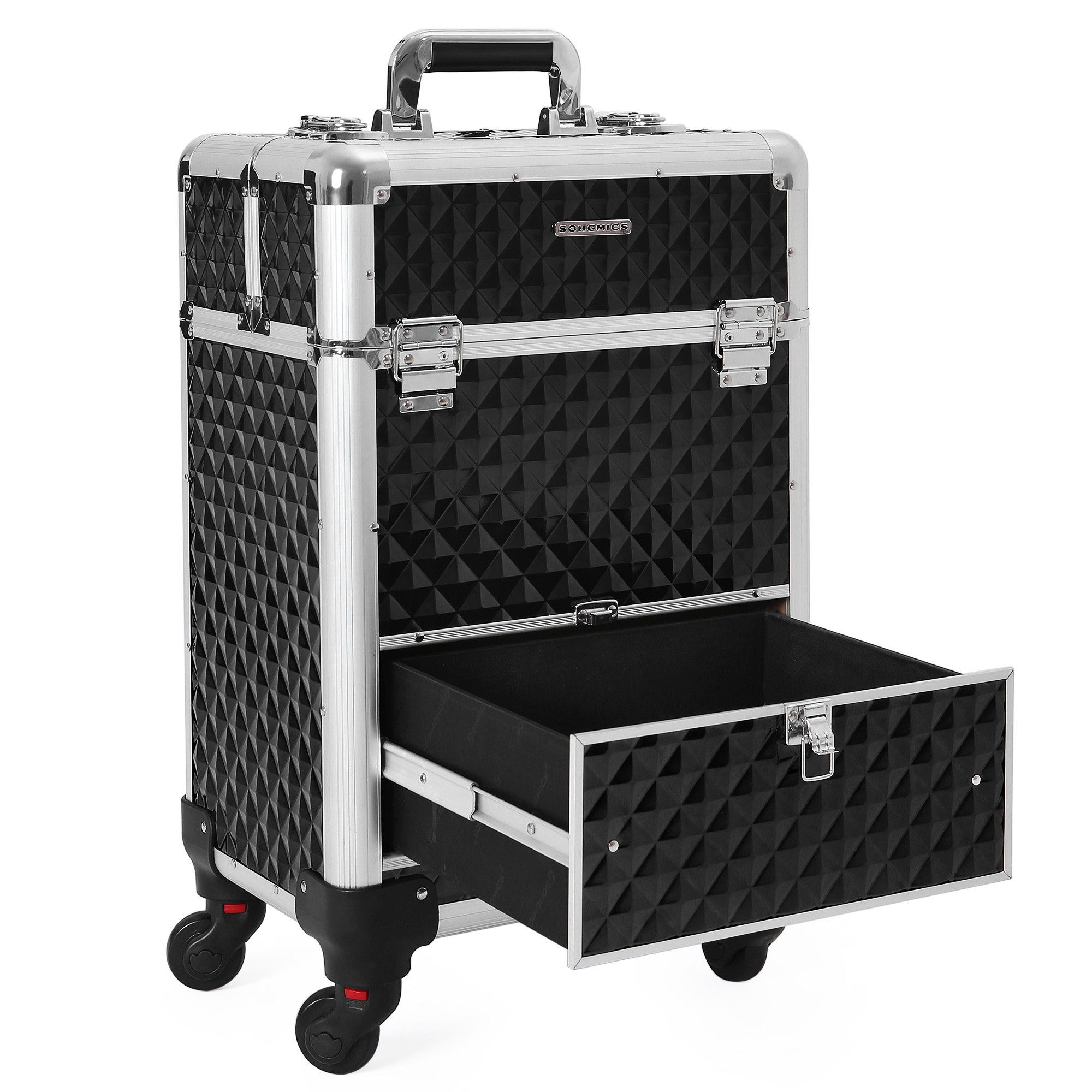 SONGMICS Rolling Train Case 1 Large Sliding Drawer 4