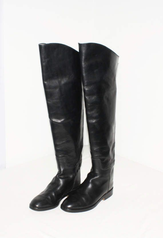 VINTAGE LEATHER BOOTS.2 WAY WEAR.STRAIGHT OR CUFF TOP.