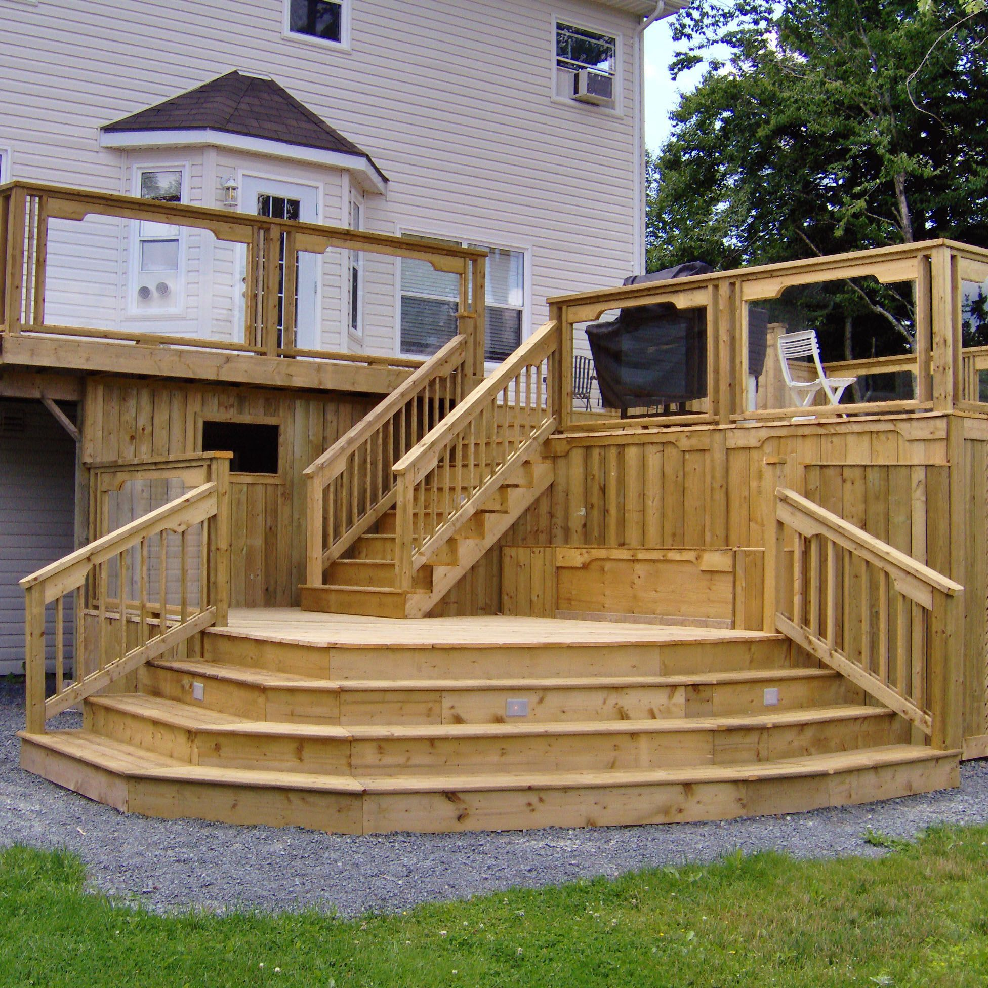Backyard Deck With Multilevel And Stair Ideas