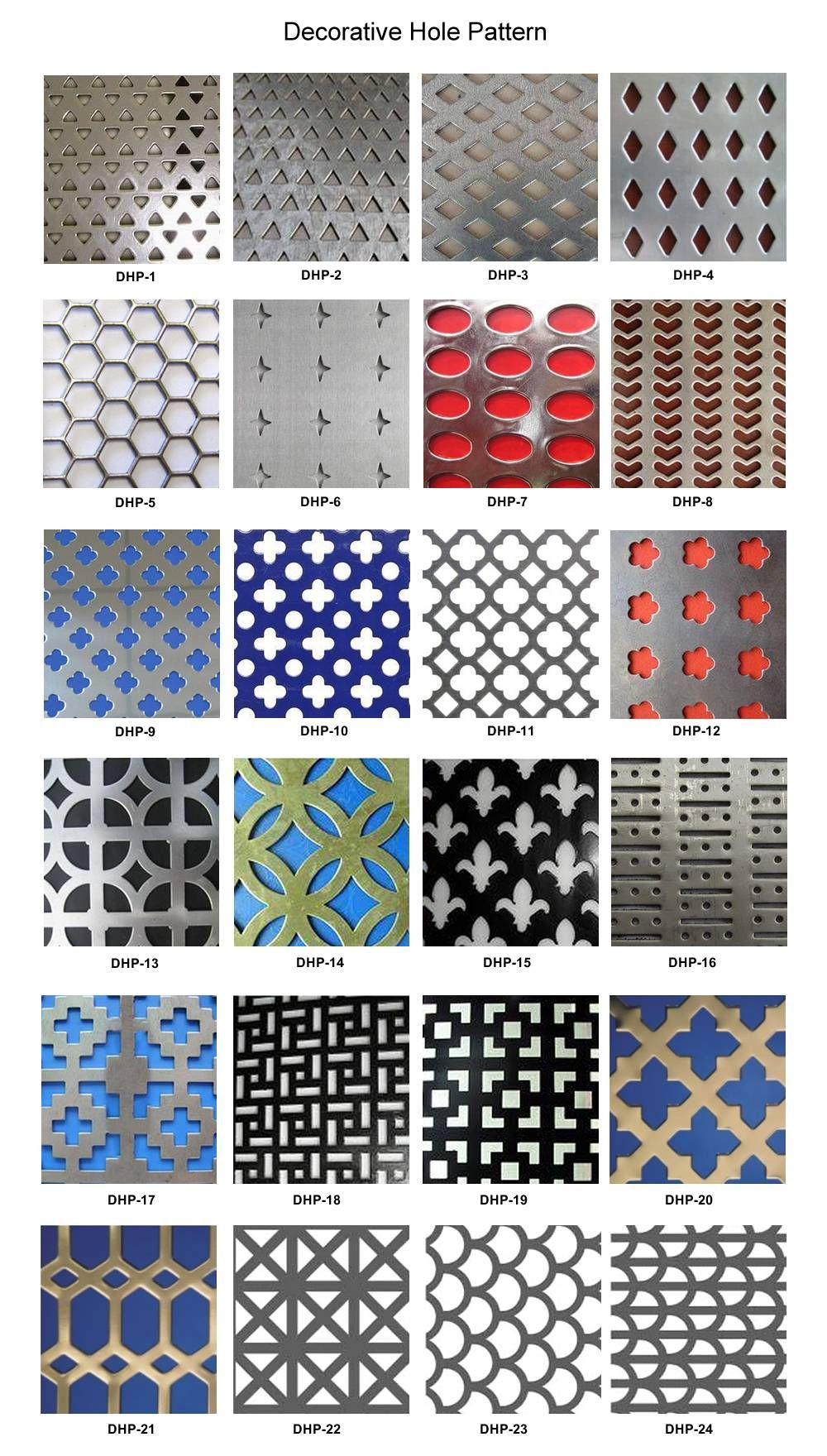 Twenty Four Patterns Of Holes For Decorative Perforated Sheets Decorative Metal Sheets Metal Sheet Design Decorative Metal Screen