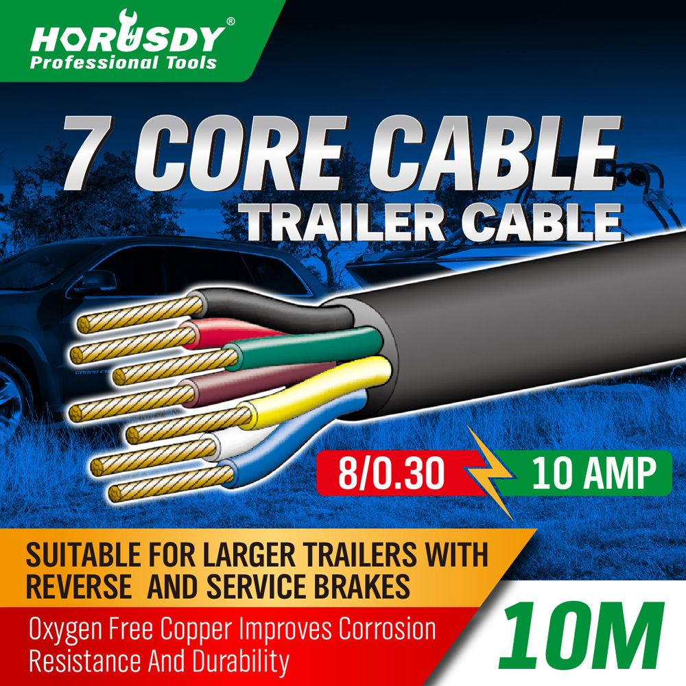 Horusdy 7 Core Trailer Cable 25mm Train Wire Caravan Plug Socket Wiring Diagram Narva 10m