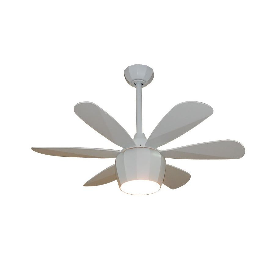Fanimation Studio Collection Crease 36 In Matte White Downrod Mount Indoor Residential Ceiling Fan With Light Kit And Remote 6 Blade