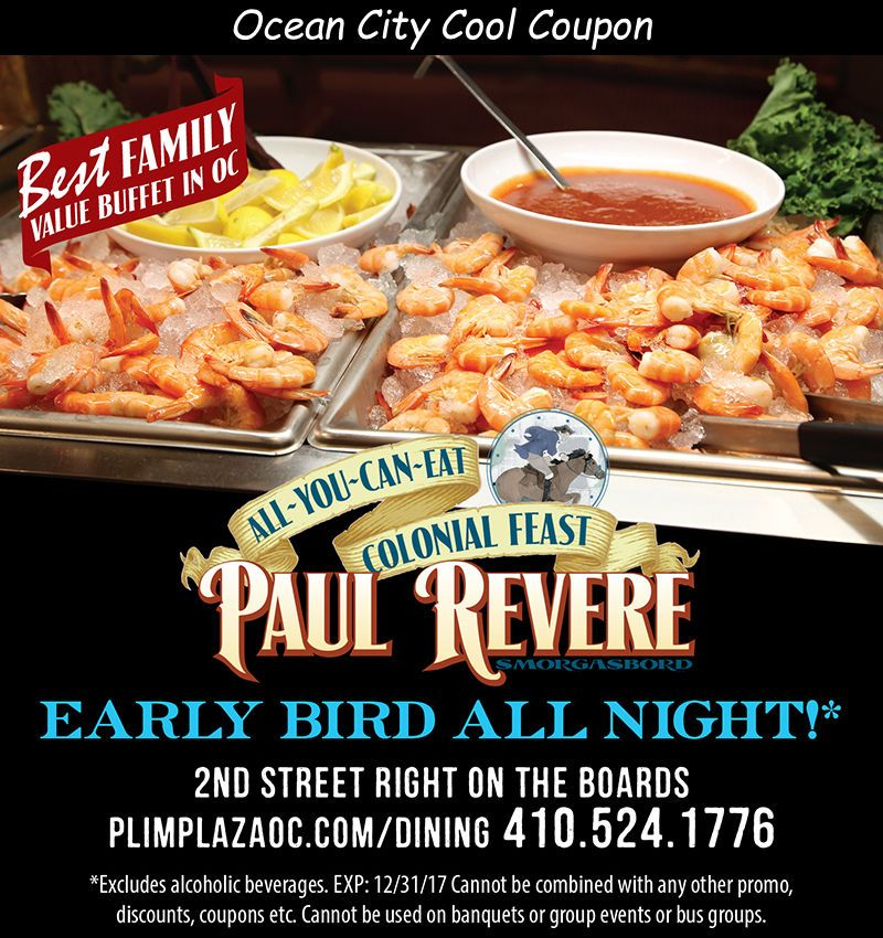 Paul Revere Smorgasbord Ocean City Md Ocean City Cool Ocean City Ocean City Md Ocean