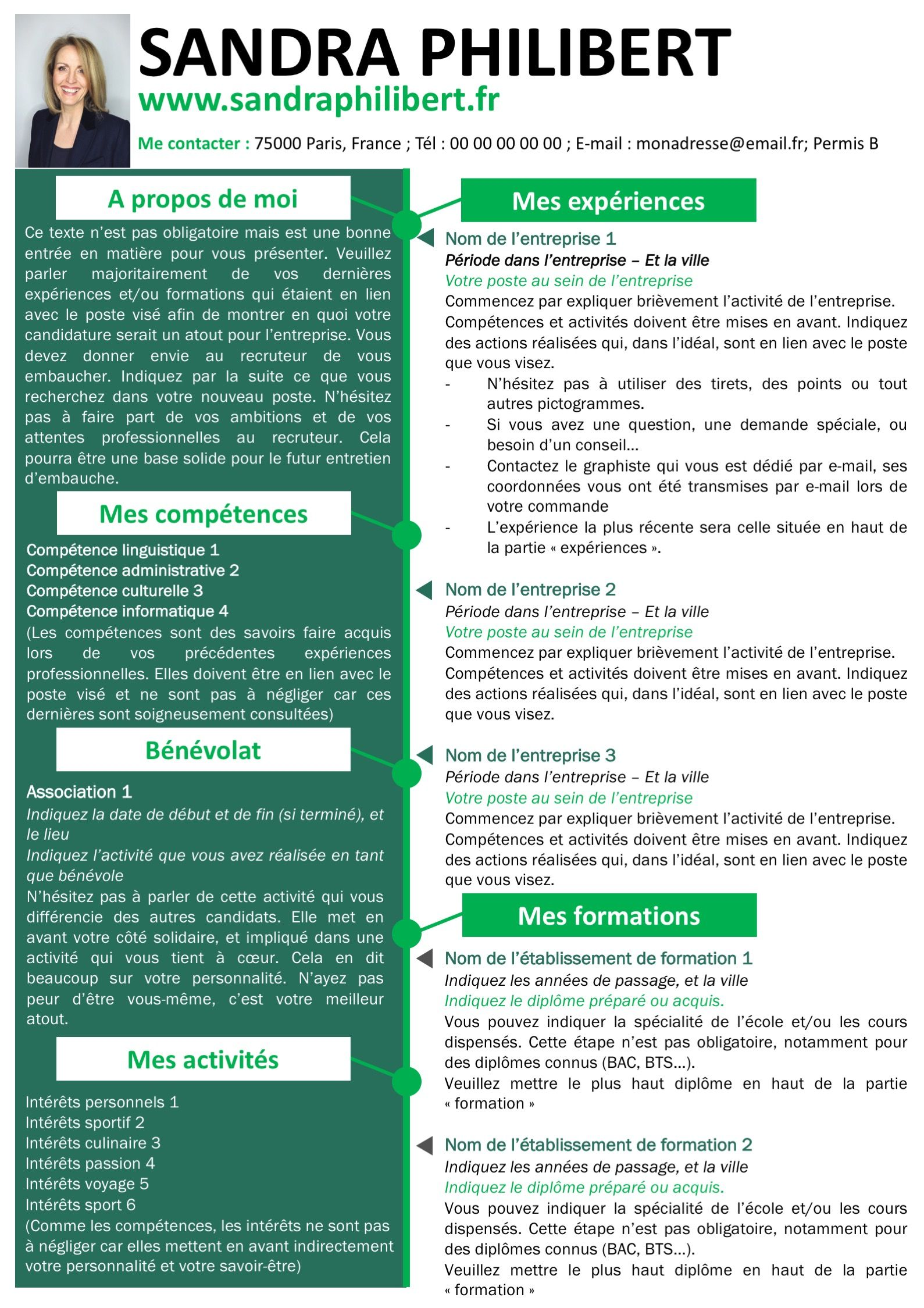 pack cv et lettre de motivation vert modifiable pour 5 99 u20ac seulement