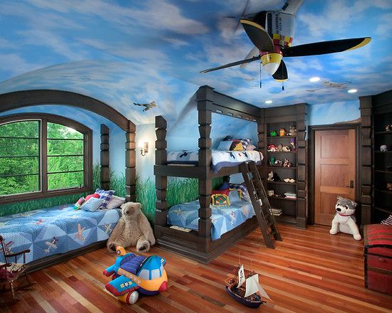 Charming Amazing Kid Rooms With Sky Paint Ceiling And Wall. The Plane Celling Fan Is  Amazing Too!