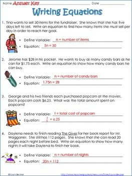 Writing Equations From Word Problems Common Core 7 Ee 6 Ee With