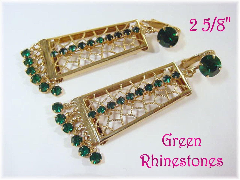 Hattie Carnegie - Emerald Green Rhinestone Dangling Filigree Lattice Clip Earrings - Unsigned - Estate Antique - FREE SHIPPING