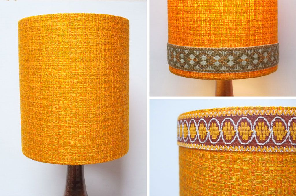 Retro lampshade original fabric extra tall drum 60s70s orange retro lampshade original fabric extra tall drum 60s70s orange brown trim vintage aloadofball Gallery