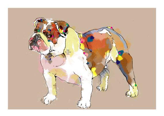 Bulldog Art Print  Bulldog Illustration  Bulldog by AmySpittleArt