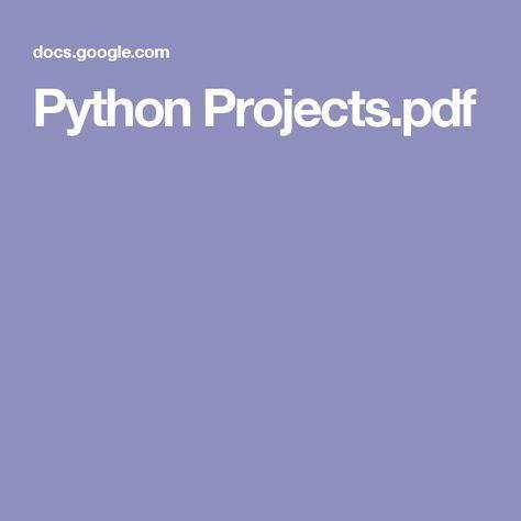 Python Projects pdf   learnin thangs   Pinterest   Python, Python
