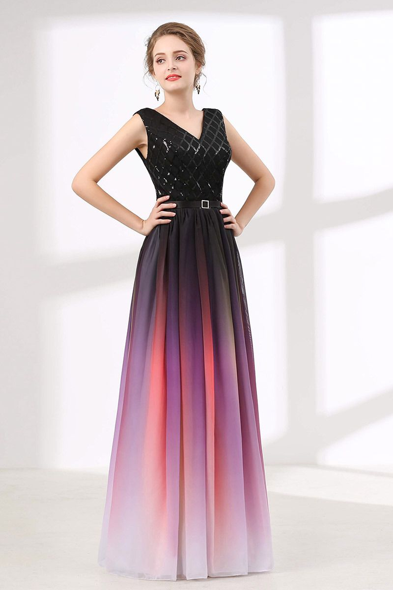 Ombre Flowy Chiffon Prom Dress Long With Shiny Sequin Bodice CH