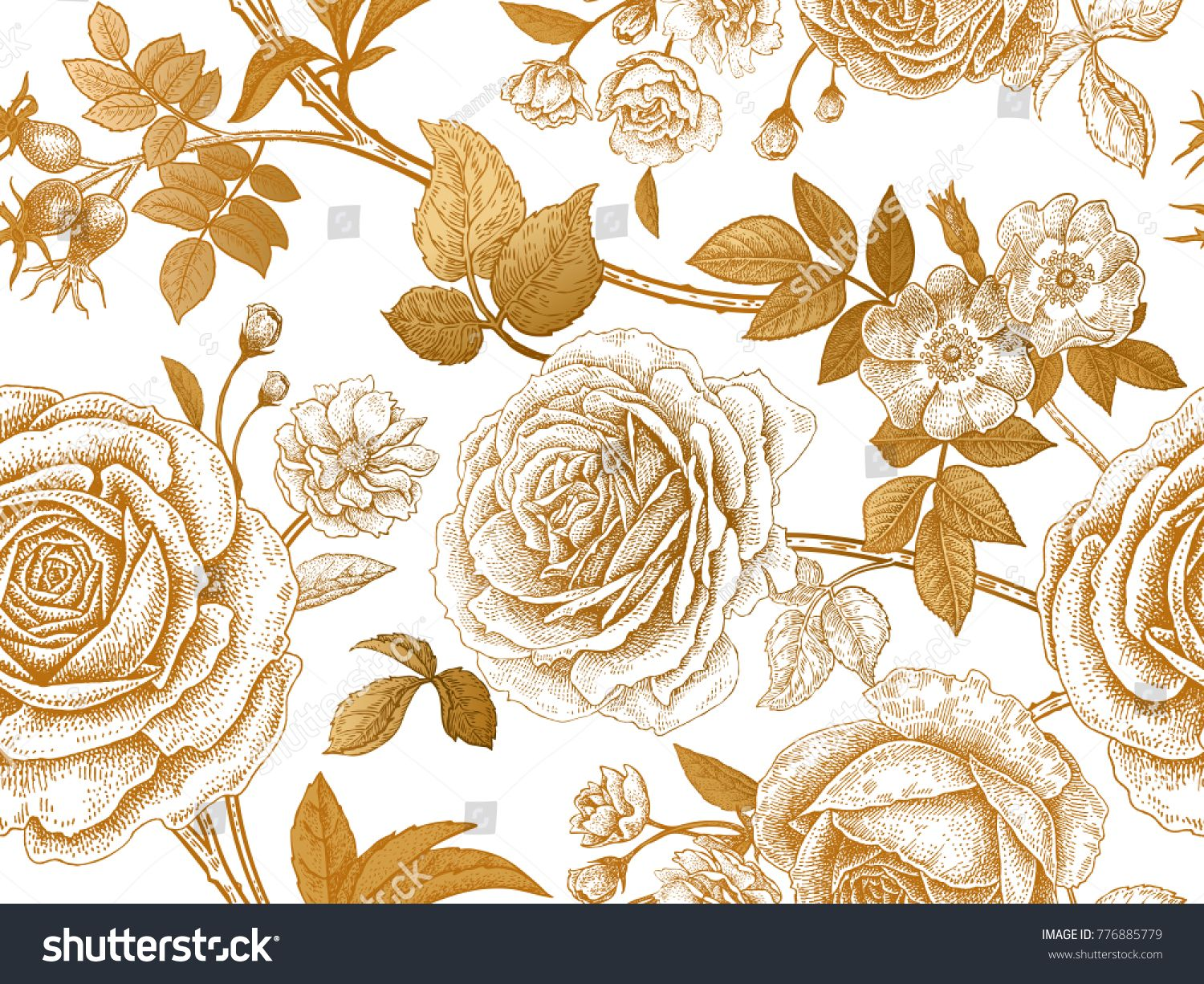 Garden Roses And Briar Gold Flowers Leaves Branches And Berries