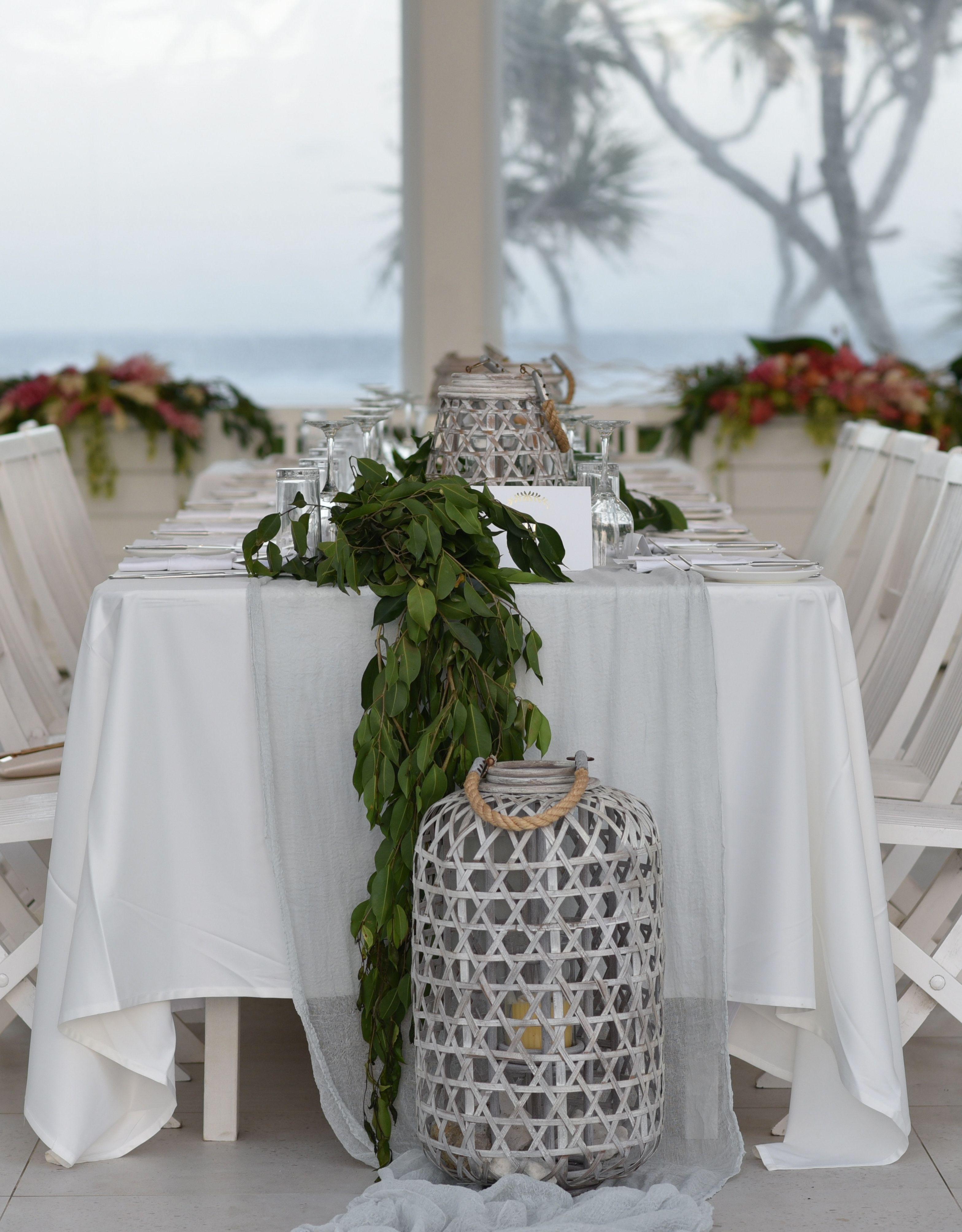 Wedding Light Gray Gauze Runner And Greenery Centerpiece Gauzerunner Cheeseclothrunner
