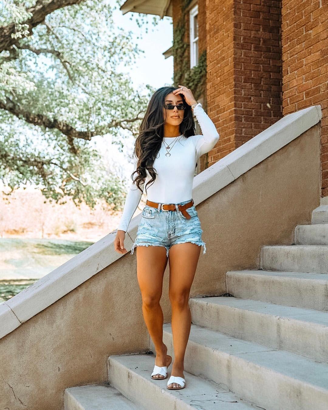 Yvetteg26 on Instagram: High waisted distressed denim shorts, tan
