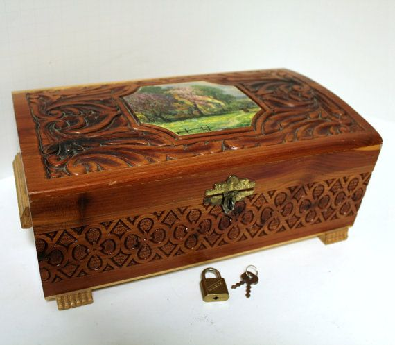 Vintage Wood Cedar Chest Box With Mirror Jewelry Trinket