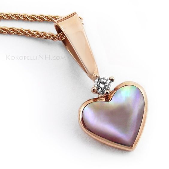 Image result for Kabana Mother Of Pearl and Diamond Heart Necklace