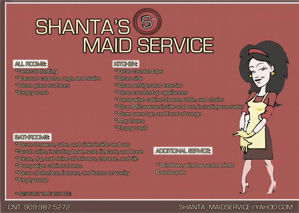 Shanta's Maid Service Flyer (With images) Cleaning