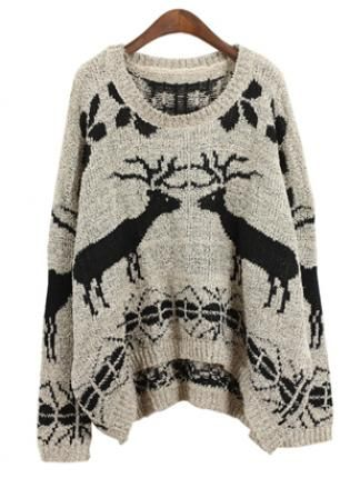 Deer loose pullovers Gray  S003245,  Sweater, Deer loose pullovers Gray  S003245, Chic