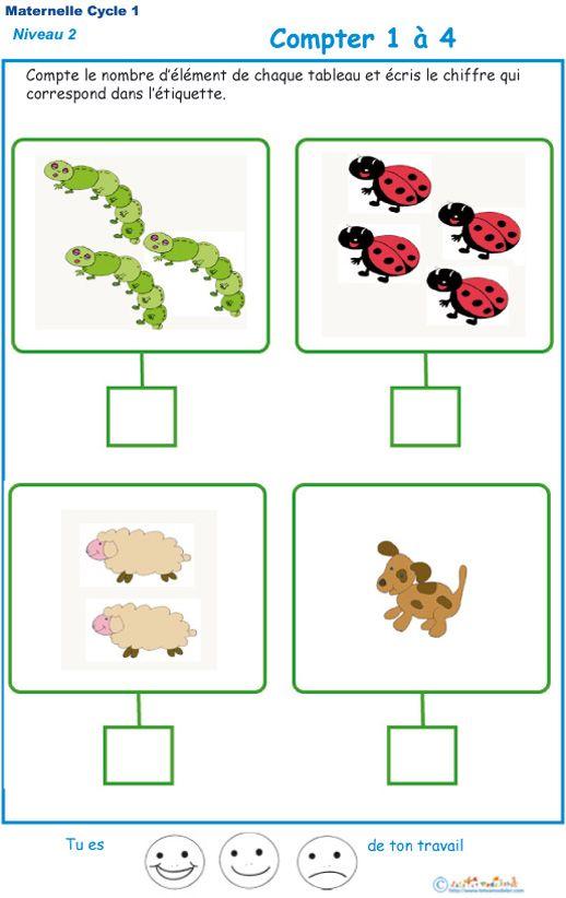 Imprimer l'exercice 4 : compter en maternelle niveau 2 | ecole | Moyenne section maternelle ...