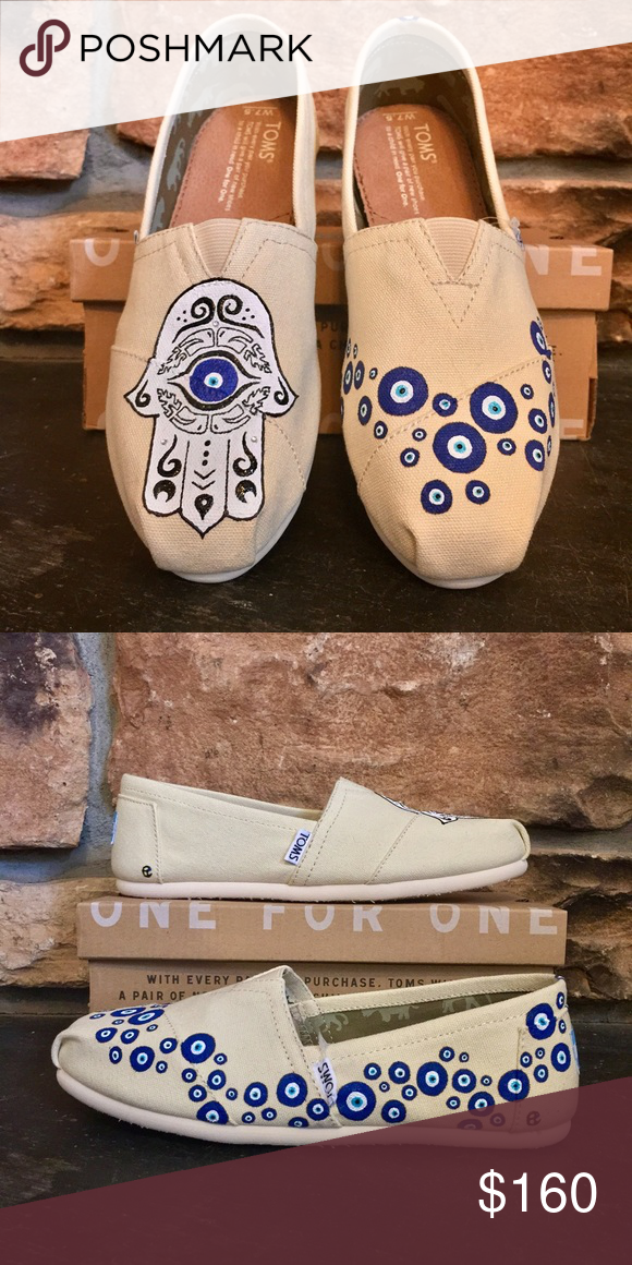 check out c55ac d2fa9 TOMS Shoes | Hamsa Evil Eye Custom Hand Painted Toms Beige ...