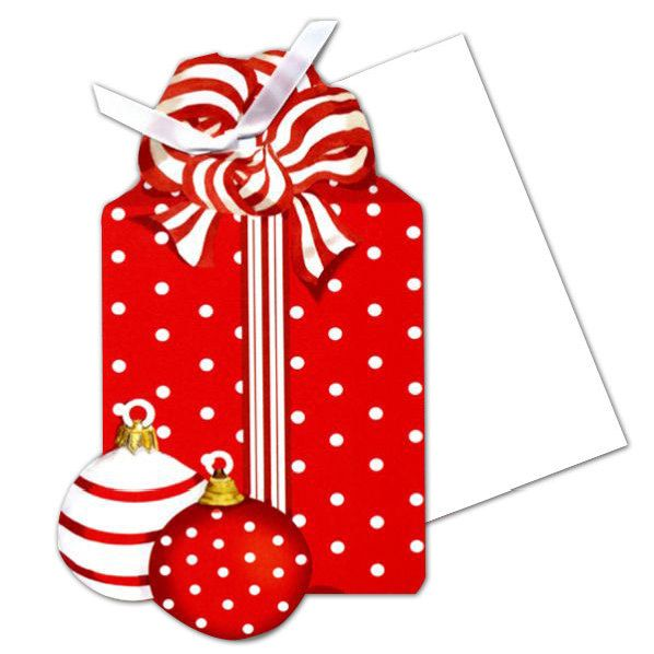red box with ornaments blank christmas invitations present making