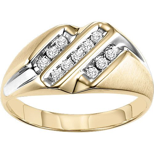 Men S 1 4 Carat T W Diamond 10kt Yellow Gold Ring Review Buy Now